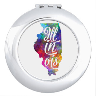Illinois U.S. State in watercolor text cut out Mirror For Makeup