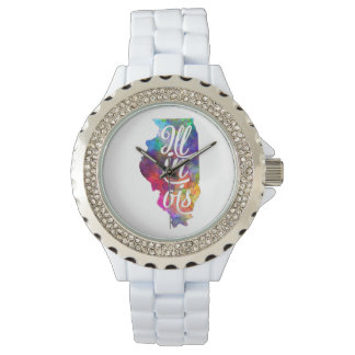 Illinois U.S. State in watercolor text cut out Watch