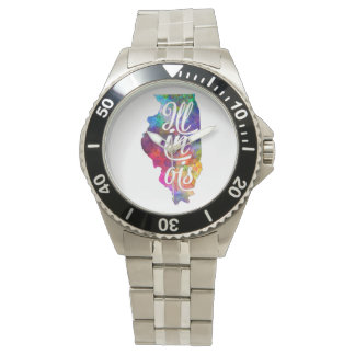 Illinois U.S. State in watercolor text cut out Wristwatch