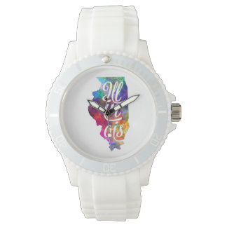 Illinois U.S. State in watercolor text cut out Wristwatches