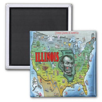 Illinois USA Map Magnet