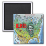 Illinois USA Map Square Magnet
