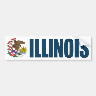 Illinois with State Flag Bumper Sticker