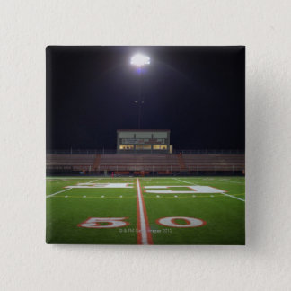 Illuminated American football field at night 2 Inch Square Button