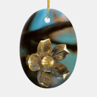 Illuminated Cherry Blossom Ceramic Oval Ornament