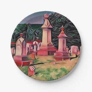 Illuminated Graveyard Tombstones Paper Plate