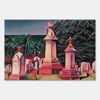 Illuminated Graveyard Tombstones Sign