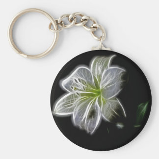 Illuminated like Outline of a White lily Flower Basic Round Button Keychain