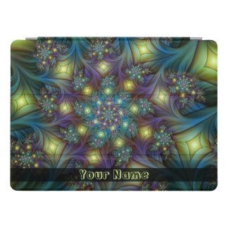 Illuminated modern blue purple Fractal Art Name iPad Pro Cover