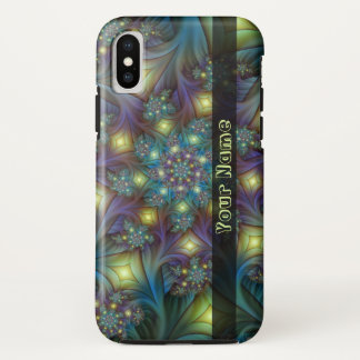 Illuminated modern blue purple Fractal Art Name iPhone X Case