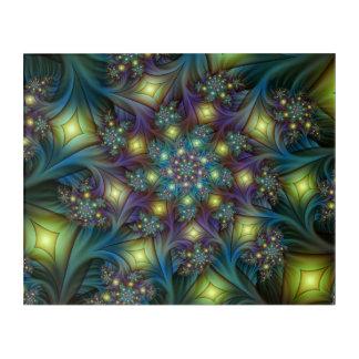 Illuminated modern blue purple Fractal Pattern Acrylic Wall Art