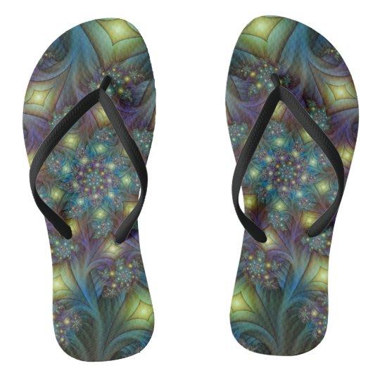 Illuminated modern blue purple Fractal Pattern Flip Flops