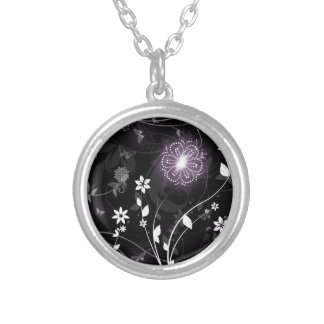 Illuminated Purple butterflies and flowers design Silver Plated Necklace