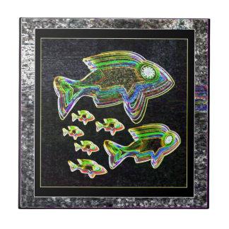 Illuminated Reflection : Fish in Flood Light Ceramic Tiles