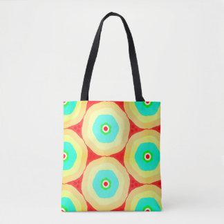 Illuminated retro pastel rings tote bag