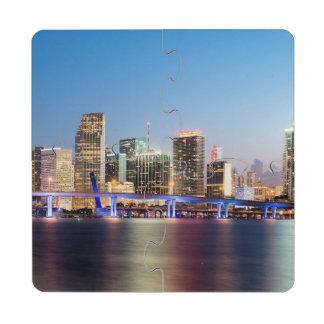 Illuminated skyline of downtown Miami at dusk Drink Coaster Puzzle