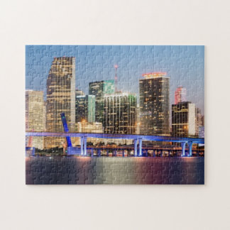 Illuminated skyline of downtown Miami at dusk Jigsaw Puzzle