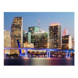 Illuminated skyline of downtown Miami at dusk Postcard