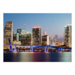 Illuminated skyline of downtown Miami at dusk Poster