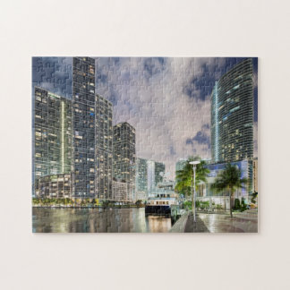 Illuminated towers at the Miami River waterfront Jigsaw Puzzle