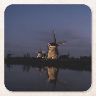 Illuminated windmill at Blue Hour coaster