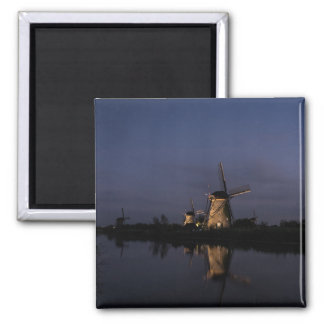Illuminated windmill at Blue Hour magnet