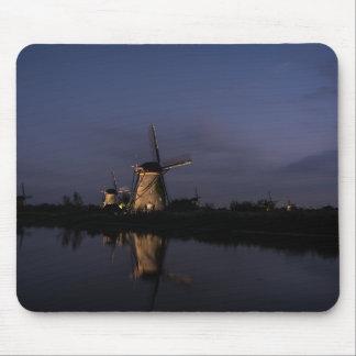 Illuminated windmill at Blue Hour mousepad