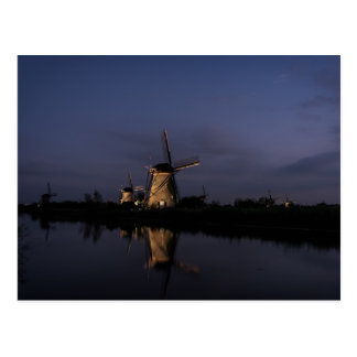 Illuminated windmill at Blue Hour postcard