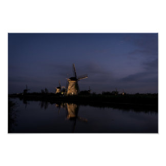 Illuminated windmill at Blue Hour poster