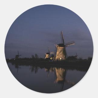 Illuminated windmill at Blue Hour round sticker