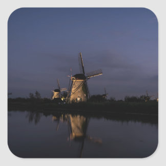 Illuminated windmill at Blue Hour sticker