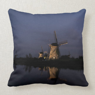 Illuminated windmill at Blue Hour throw pillow