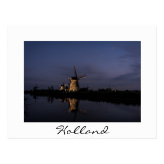 Illuminated windmill at Blue Hour white postcard