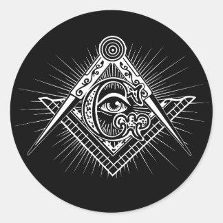 Illuminati All Seeing Eye Freemason Symbol Round Sticker