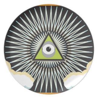 Illuminati All Seeing Eye NWO New World Order Party Plates