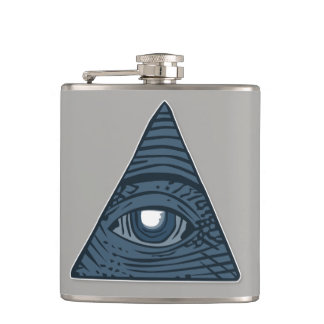 Illuminati All Seeing Eye Pyramid Symbol Hip Flask