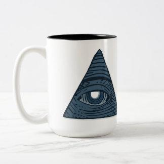 Illuminati All Seeing Eye Pyramid Symbol Two-Tone Coffee Mug
