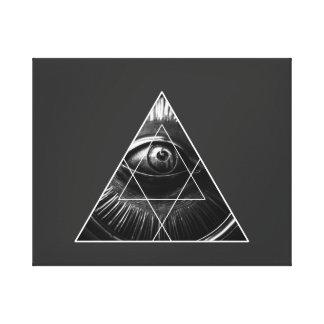 Illuminati Graphic Grey Canvas Print