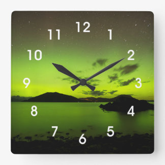Illuminating Aurora Square Wall Clock
