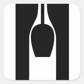 Illusion bottle and glass square sticker