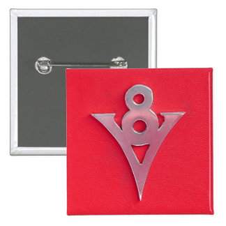 Illusion Chrome V8 Emblem on Red Leather 2 Inch Square Button