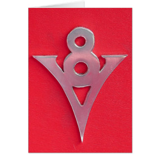 Illusion Chrome V8 Emblem on Red Leather Card