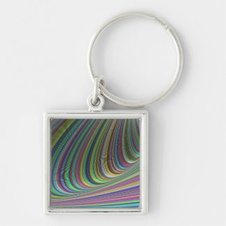 Illusion Silver-Colored Square Keychain