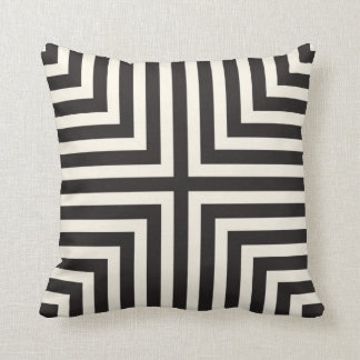 Illusion Stripes T Pattern in Black and Cream Throw Pillow