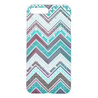 Illusion Turquoise, Mint and White Chevron pattern iPhone 7 Plus Case