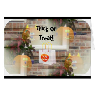Illusionary Pumpkins with Tote Bag-Trick or Treat! Greeting Card