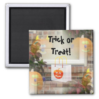 Illusionary Pumpkins with Tote Bag-Trick or Treat! Square Magnet