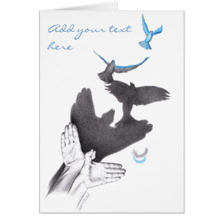 Illusions hands shadow birds Note greeting card