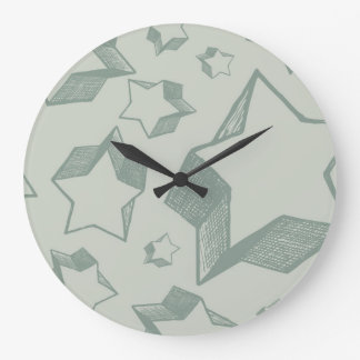 Illustrated 3D Stars Large Clock