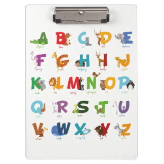 Illustrated animal alphabet letters clipboard